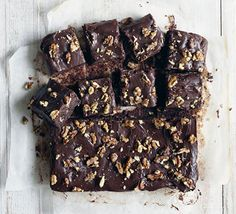 These deeply chocolatey squidgy sponge squares are gluten-free - try served as a dessert with ice cream