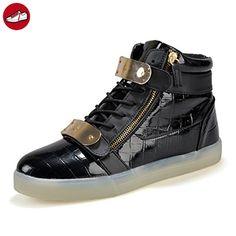 [Present:kleines Handtuch]Gold EU 35, Flashing Luminous leuchten Unisex LED Herren (Größe Sportschuhe Schuhe Lovers weise Turnschuhe Glow Damen