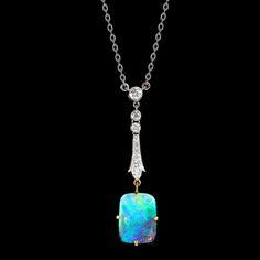 Edwardian Opal and Diamond Pendant