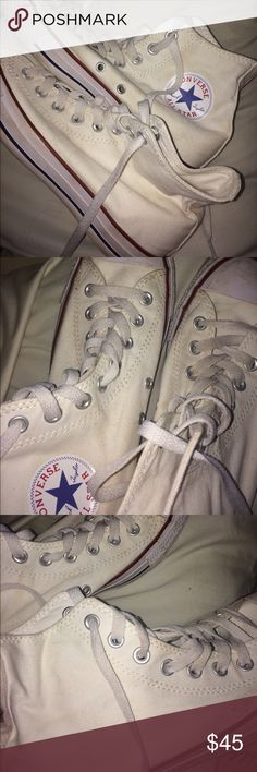 White High Top converse Worn once hiking (bad idea I know) 😉 Size 9! Too big for my size 7 feet :( I PROMISE these look whiter in person. Converse Shoes Sneakers