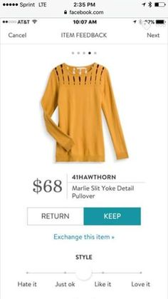 Stitch Fix 2017 Fashion! Sign up today & ask your stylist for great items like these. Perfect for the new year! 41 Hawthor Marlie Slit Yoke Detail pullover. Mustard top. #Sponsored #Stitchfix