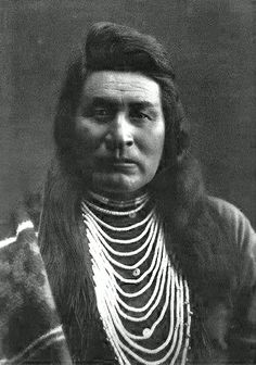 """""""Typical Nez Perce"""" - Photograph taken by Edward S. Curtis, 1899. - Curtis Caption: """"This portrait presents a splendid type of the Nez Perce man"""".  (Cropped/Photoshopped)"""
