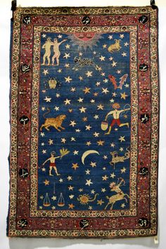 "suzani:  ""Persian 'zodiac' rug, probably Kerman area, south west Persia, early 20th century, 6ft. 7in. X 4ft. 4in. 2.01m. X 1.32m.  """