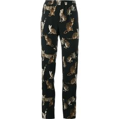 Dolce & Gabbana Bengal Cat Print Trousers ($773) ❤ liked on Polyvore featuring pants, stretch waist pants, peg-leg pants, silk trousers, cat pants and dolce gabbana trousers