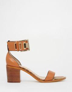 Image 1 ofRiver Island Tan Ankle Strap Block Heel Sandals