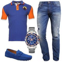 Jeans slim con strappi Armani Jeans, polo in fantasia multicolore, mocassini e splendido orologio Nautica. Un look sui toni del blu molto trendy, perfetto per le giornate di relax al mare o in città.