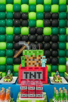 Cake from a Minecraft Birthday Party via Kara's Party Ideas KarasPartyIdeas.com (25)