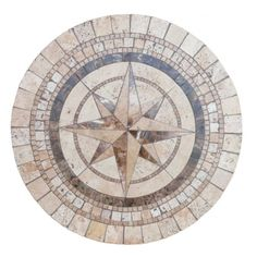 Compass mosaic stone tile table top, for outdoors or indoor use.
