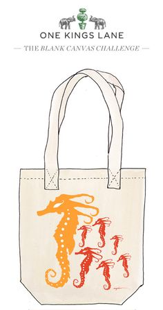 Michele Johnson created this tote design as part of our Blank Canvas Challenge, cast your vote by re-pinning it! See the contest rules at: www.onekingslane.com/designchallenge