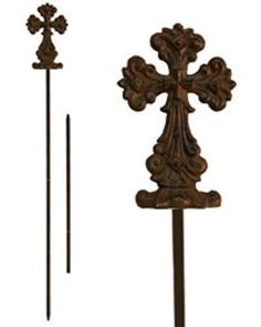 """Wrought Iron Cross Garden Stake [GC16 787D] . $15.51. The Faith Collection. Made of brozed metal. Metal Cross Garden Stakes. Comes with 2 different sized stakes; 23"""" or 37.25"""". The Wrought Iron Cross Garden Stake comes with 2 different sized stakes. You can choose whether to use the 23 inch or 37.25 inch Yard Garden Decor garden stake. The Christian Cross is 6 inches tall including the base. The metal cross from this decorative garden stake is made of bronzed metal and..."""