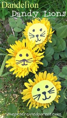 Dandelion Lions - Easy nature arts and crafts for kids. Flower craft ideas for the spring and summer