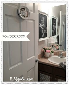 Medicine cabinet with framed blackboard door on the side wall. Other wonderful decorating ideas for rentals on this site.