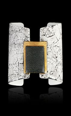 Cuff bracelet | Morgan Wisser.  Steel plated with lacquered egg shells and decoration of rectangular green-dyed shagreen motif against a gilt ground.