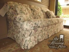 "Three seat skirted sofa in a pretty floral patterned upholstery with two small accent pillows. Ideal find for a traditional style living room or family room. Measures 82""long x 38""deep x 36""high. Was $950 new!"