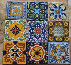 9MEXICAN TALAVERA POTTERY 4 tile Clay Hand Painted by MexicanTiles