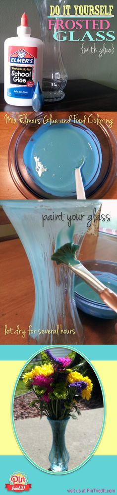 Easy home decor: Do It Yourself Frosted Glass (using school glue & food coloring). and the best part is, its temporary so you can change/undo/redo it whenever you want! - Home Decor Diy Cheap Home Crafts, Fun Crafts, Diy And Crafts, Arts And Crafts, Wine Bottle Crafts, Mason Jar Crafts, Diy Bottle, Mason Jars, Glass Jars