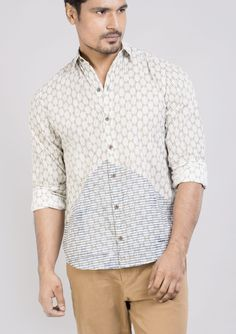 Block printed cotton shirts tops and shirt BS Each 1 This shirt is constructed from a handle cotton with block prints pattern .This cotton shirts ensure comfort and fit that easily outshines others.*classic collar shirt *semi formal shirt *Full sleeves *Front buttoned *roll up sleeves.