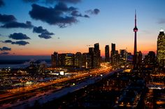 Toronto during the early evening.