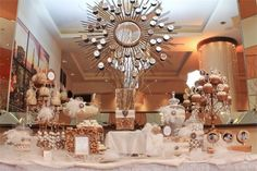 Old Hollywood Candy & Dessert Table: Gold and White  #FEELBEAUTIFUL  #WHBM