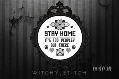 Stay Home Blackwork Cross Stitch Pattern with Flowers