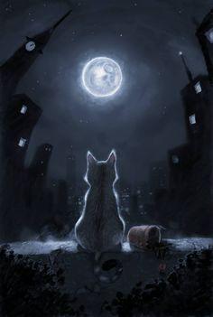Tonight and Friday, let's do MOON ART. Warrior Cats, I Love Cats, Crazy Cats, Cute Cats, Fantasy Kunst, Fantasy Art, Beautiful Moon, Beautiful Things, Moon Art