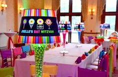 Bat Mitzvah Centerpieces - Dylan's Candy Bar Theme, Glowing Neon Lampshades {Planner: Party Perfect, Photo: A Magic Moment} - mazelmoments.com