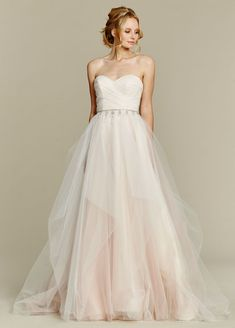 <p>Dolce</p>Cherry Blossom draped tulle bridal ball gown, strapless sweetheart bodice and chandelier beaded belt at natural waist, full tulle skirt with pick up detail. Bridal Gowns, Wedding Dresses - Jim Hjelm Blush - JLM Couture Inc. - Bridal Style 1556 by JLM Couture, Inc.
