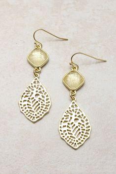 Golden Filigree Earrings on Emma Stine Limited