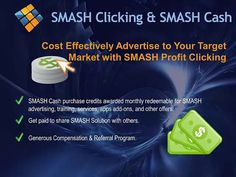 Smash Solution Pre-Launch Presentation http://smashsolution.com/viraltraffic Smash Solution Pre-Launch Presentation by Vivienne Russell & Lynn Carrillo. Smash Solution is a complete social media, client management service, with automated virtual assistant. Other services include: Interactive contact manager, complete social media buzz wall and posting manager, integrated calendar, video email and conference, market analytics,Smash Cash -all integrated to Smash Your Competition. #smash…