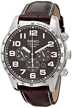 Seiko Men's SSC227 Stainless Steel Solar Watch with Brown Leather Band Seiko via https://www.bittopper.com/item/seiko-mens-ssc227-stainless-steel-solar-watch-with-brown/