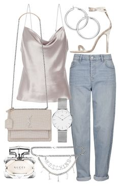 """""""Untitled #22164"""" by florencia95 ❤ liked on Polyvore featuring Topshop, Fleur du Mal, Yves Saint Laurent, Moschino, Baldwin, Daniel Wellington and Gucci"""