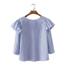 Women sweet ruffles striped shirts blue backless loose long sleeve blouses at leasure fashion casual tops blusas mujer LT1367
