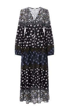 Floral Long Sleeved Maxi Dress  by SUNO Now Available on Moda Operandi