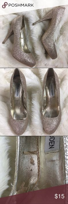 Rose Gold Glitter Pumps USED CONDITION**** no box included. Please see all pictures for defects. Steve Madden Shoes Platforms