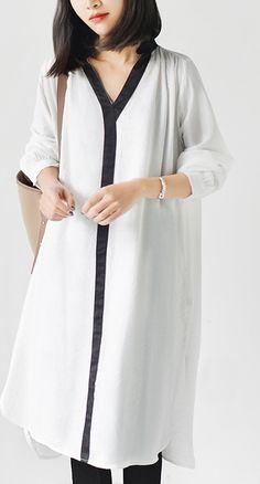 White long sleeve causal shirts dresses plus size spring shift dress