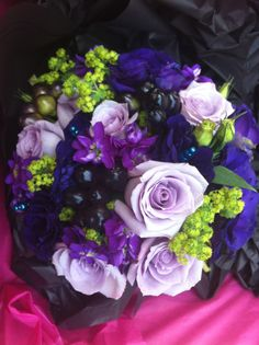 Memory lane rose, purple stocks and lisianthus, lime green alchemilla mollis and black sierpeper giant berrys