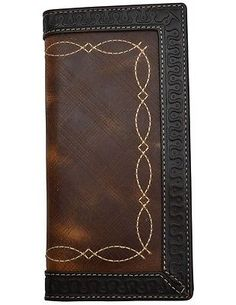 3D Western Wallet Mens Rodeo Distressed Checkbook Chocolate W242