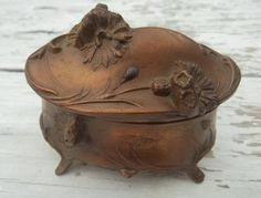 vintage art nouveau metal casket trinket box by trinketsbynana, $20.00