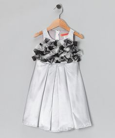 Take a look at this Silver Pleated Rosette Dress - Toddler & Girls by Funkyberry on #zulily today!