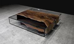 GLASS LOW TABLE WITH BLACK WALNUT MICROSLAB by John Housmand