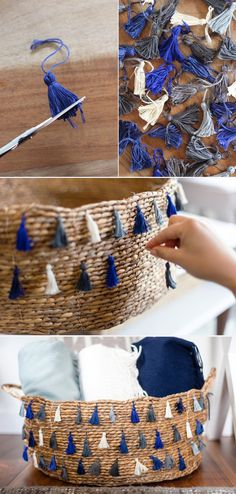 I got some supr chep wire waste bins for her room one for a diaper pail and one for a laundry basket. I am weaving hemp twine through the holes to make it look like a real weaved basket. I like these tassels too! Diy Basket, Tall Basket, Storage Basket, Diy Projects To Try, Craft Projects, Craft Ideas, Home Crafts, Diy And Crafts, Creation Deco
