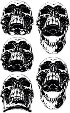 Buy Scary Human Skull with Canines Tattoo Set by GB_Art on GraphicRiver. A vector illustration of Black scary graphic human skull with canine tooth tattoo set Demon Drawings, Skeleton Drawings, Tooth Tattoo, Skull Reference, Skull Stencil, Skull Sketch, Emo Art, Skull Artwork, Tattoo Set