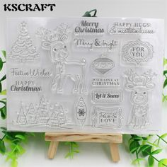 Cheap clear stamps, Buy Quality transparent clear silicone stamp directly from China clear silicone stamp Suppliers: KSCRAFT Christmas Deer Transparent Clear Silicone Stamp/Seal for DIY scrapbooking/photo album Decorative clear stamp sheets Scrapbooking Photo, Diy Scrapbook, Cheap Stamps, Merry Happy, Card Sentiments, Clear Silicone, Christmas Deer, Office And School Supplies, Mistletoe