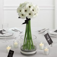 White Gerbera daisy centerpiece