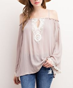 Look what I found on #zulily! Taupe Off-Shoulder Top #zulilyfinds
