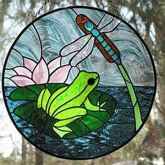 Stained glass frog and dragonfly suncatcher | A new ...
