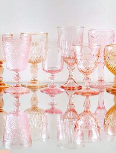 to colored glassware. Cheers to colored glassware. Via Casa de Perrin / sfgirlbybayCheers to colored glassware. Via Casa de Perrin / sfgirlbybay Layout Design, Color Inspiration, Wedding Inspiration, Rosa Rose, Shabby, Pink Depression Glass, Everything Pink, Vintage Glassware, Colored Glass