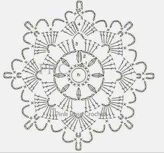X Centrinhos Delta Porta-Copos Mini Mats Crochet Snowflake Pattern, Crochet Motif Patterns, Crochet Stars, Crochet Snowflakes, Crochet Blocks, Crochet Diagram, Crochet Granny, Crochet Doilies, Crochet Flowers