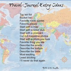 Travel journal entry ideas How to Start a Travel Inspiration Journal journaling scrapbooking Get ideas for the best travel journaling! A good part of the joy of travel is reading your travel journal years later! Travel Journal Scrapbook, Bullet Journal Travel, Travel Journals, Bullet Journal Entries, Travel Journal Pages, Scrapbook Kit, Scrapbook Supplies, Journal D'inspiration, Journal Prompts