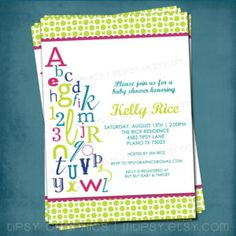 Abc Themed Baby Shower Invitations